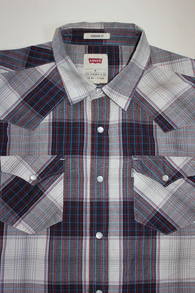 648e9d4c Levi's Mens Medium Long Sleeve Pearl Snap Multi-Color Plaid Check Western  Shirt #Levis #Western