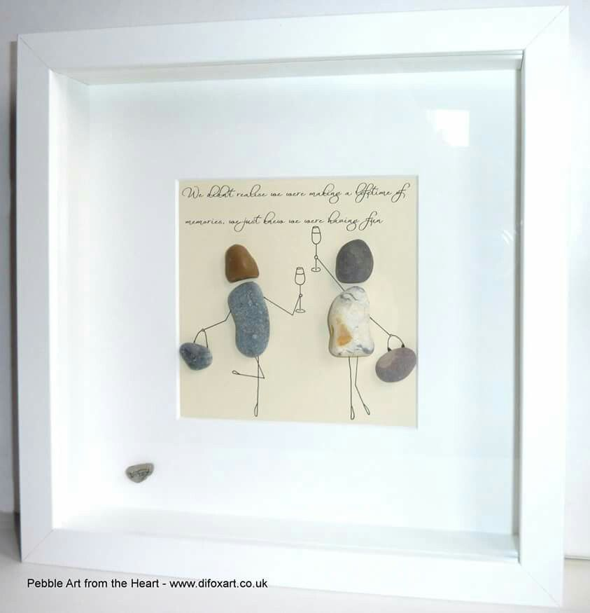 Pebble gift for friends-Stone craft-Beautiful day-Picture pebble beach-Mediterranean palm beach-Stone art-Home d\u00e9cor-Collage-Sand and Beach