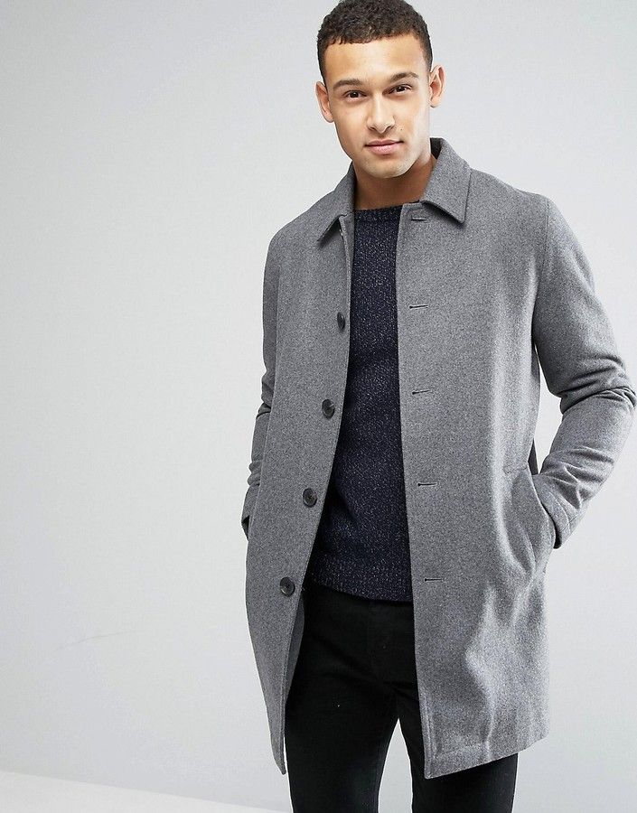 e2d0088af17b ASOS Wool Mix Trench Coat In Light Gray Marl Klick to see the Price  men   fashion  male  style  menfashion  menwear  menstyle  clothes  boots  man   ad