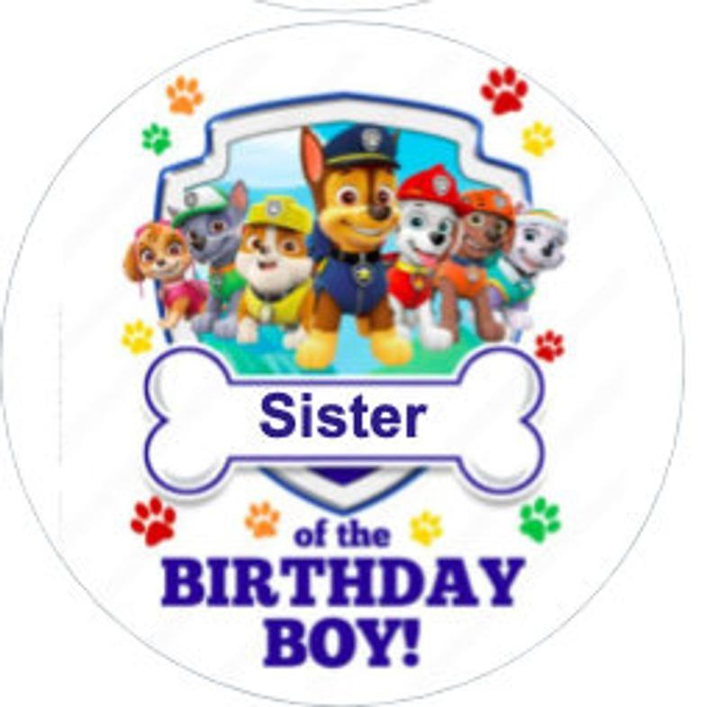 Paw Patrol Birthday Name Tags Etsy Paw Patrol Birthday Birthday Name Paw Patrol Birthday Shirt