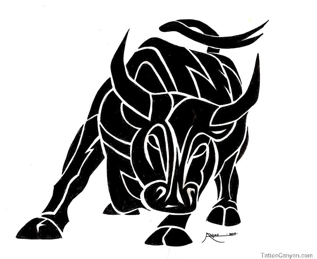 Pics photos taurus tattoos bull tattoo art - Nice Black And White Tribal Bull Tattoo Design