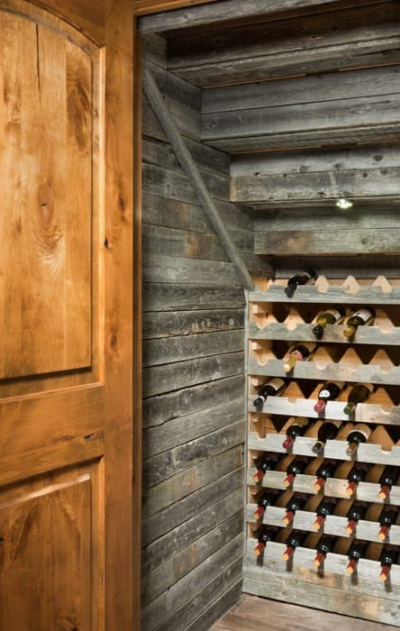Airdrie Alberta Timber Frame Home Wine Cellar Under The