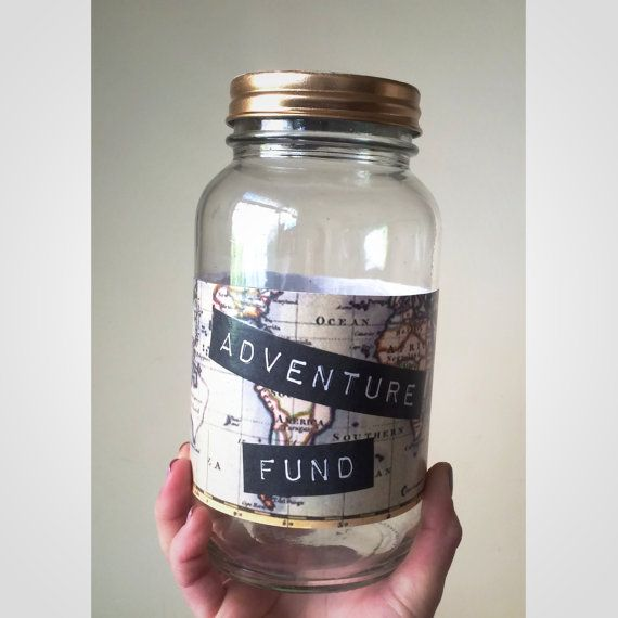 Glass adventure fund piggy bank to save for travel unique for Cool money jars
