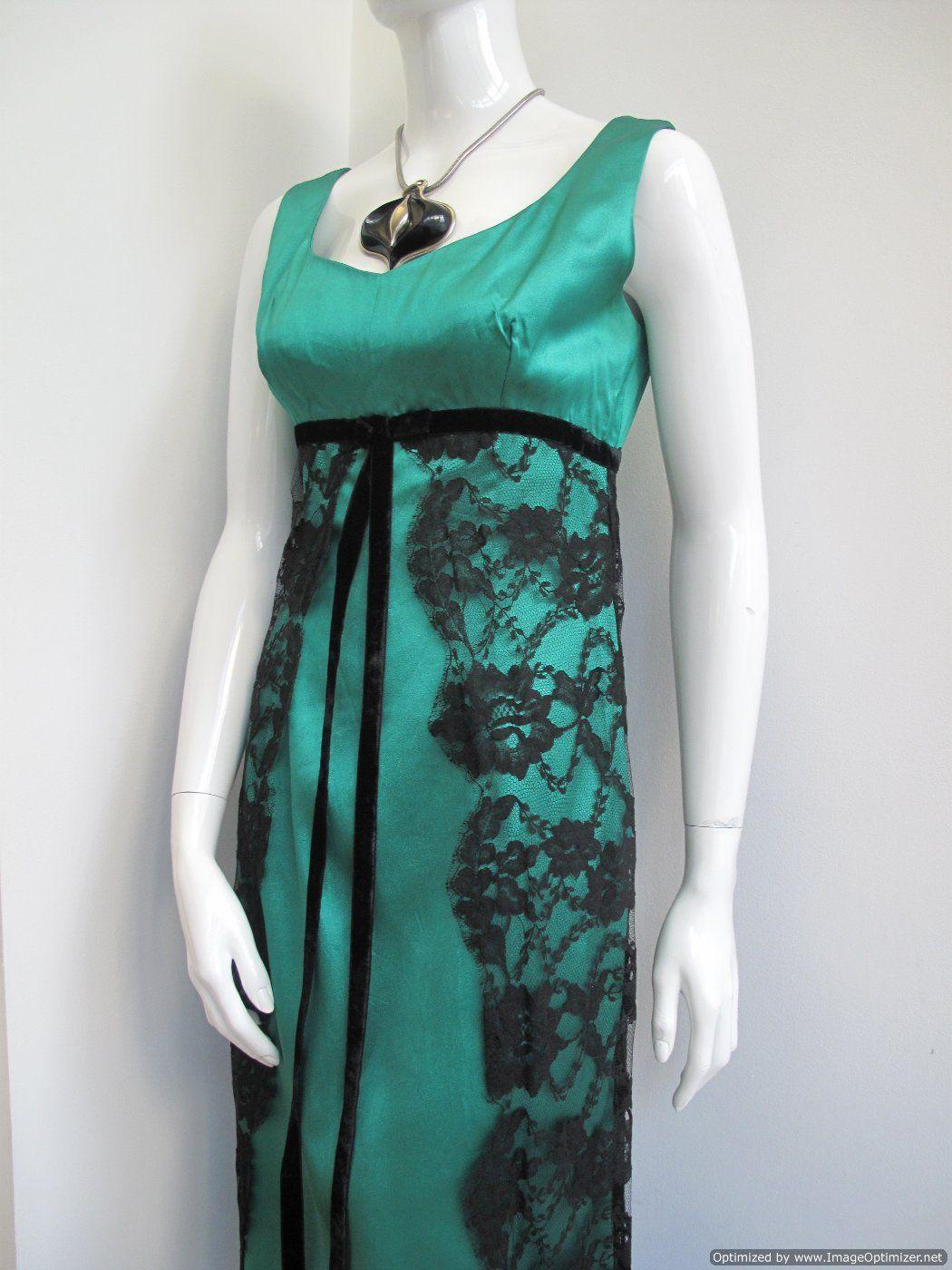 1960's Vintage Empress line green vintage evening gown