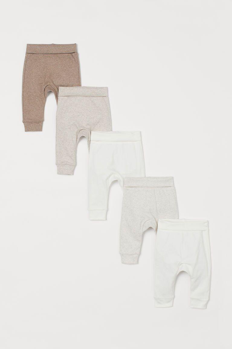 Photo of 5-pakke bomullsbukser – hvit / lys beige melange – Barn | H&M USA
