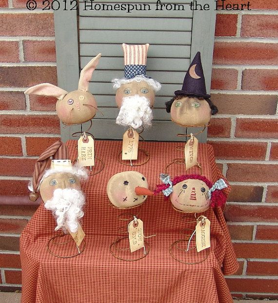 Featured 5 Spring Projects: Primitive Doll Pattern Nodder Head Pattern On Springs