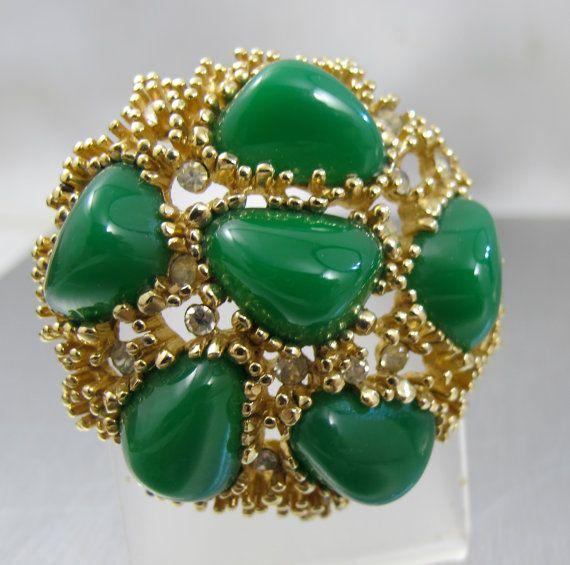 Vintage Boucher Brooch Green Art Glass Nugget by TonettesTreasures