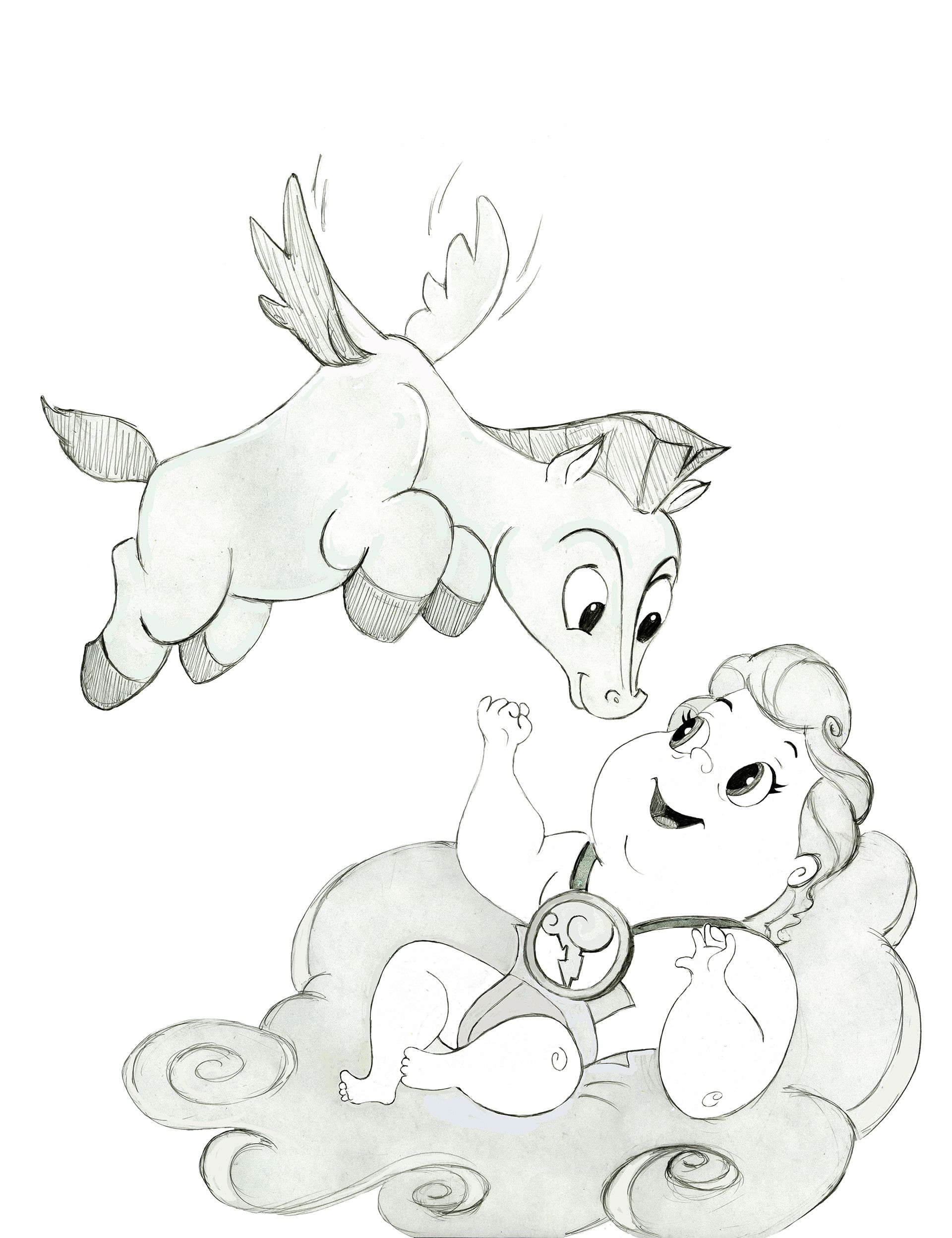 Pegasus And Baby Hercules Hercules Disney Artwork Disney Art Disney Drawings