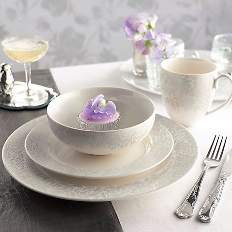 Buy Denby Monsoon Lucille Plates, Silver Online at johnlewis.com ...