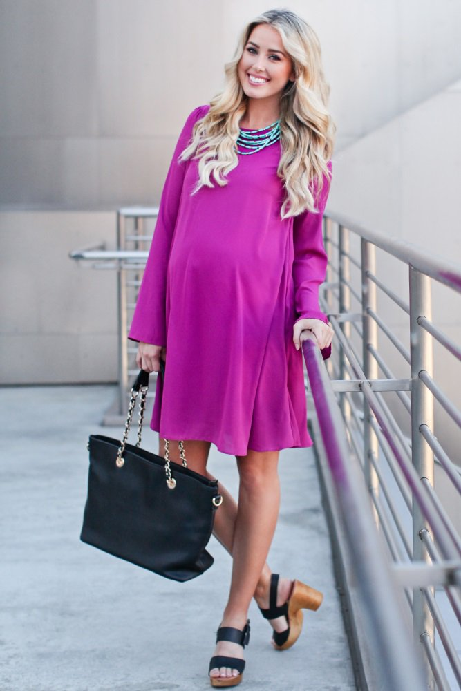 Magenta Chiffon Bell Sleeve Maternity Dress | Baby Shower Style ...