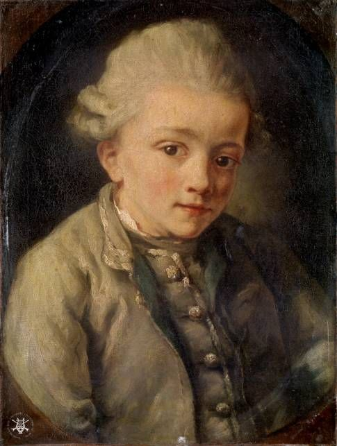 Mozart painted by - Jean-Baptiste Greuze (21 August 1725 – 4 March 1805) , French painter.