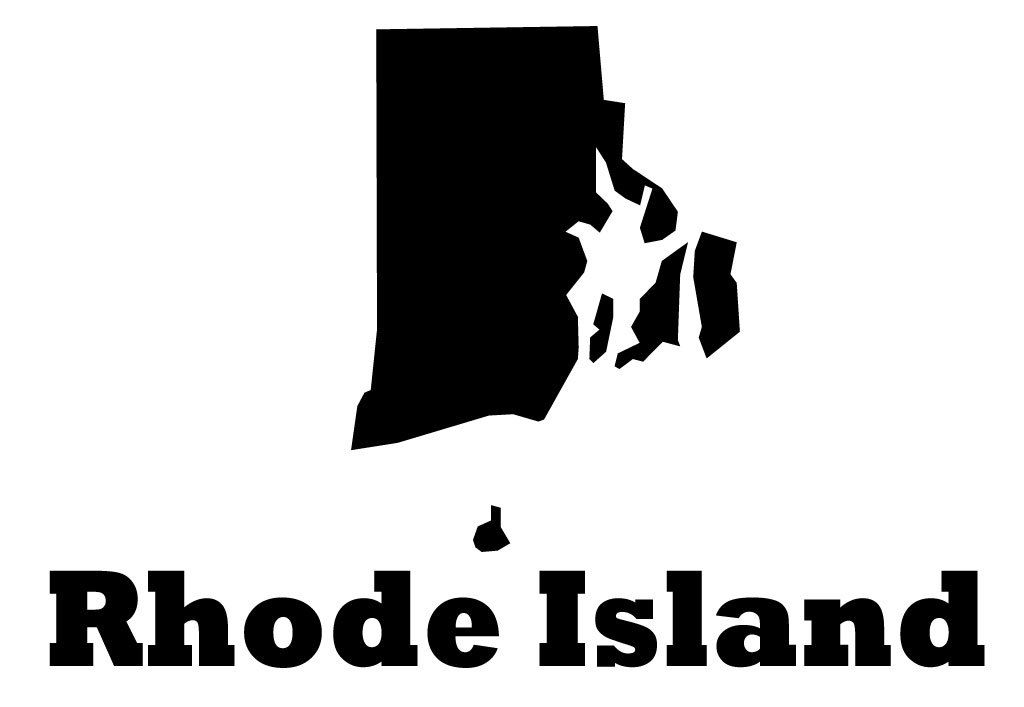 Rhode island state map silhouette vinyl wall decoration with state name customvinyldecor com