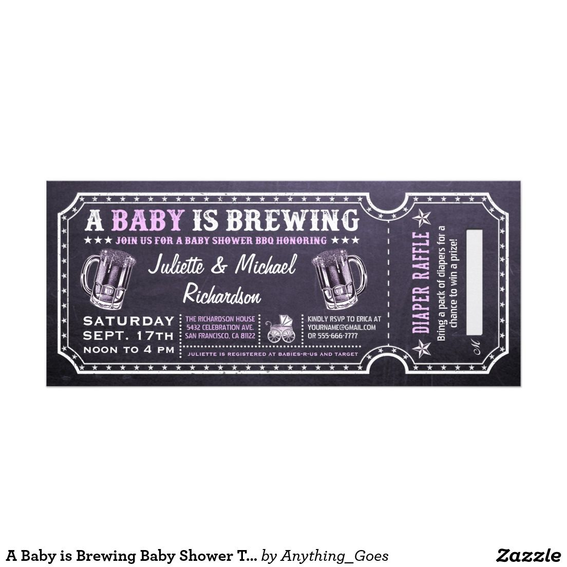 A Baby is Brewing Baby Shower Ticket Invitations | Invitations ...