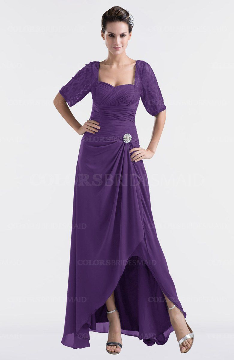 d7b92ff94a00 Dark Purple Modest Sweetheart Short Sleeve Zip up Floor Length Plus Size  Bridesmaid Dresses at a discount price on colorsbridesmaid.com. The A-line,  Floor ...