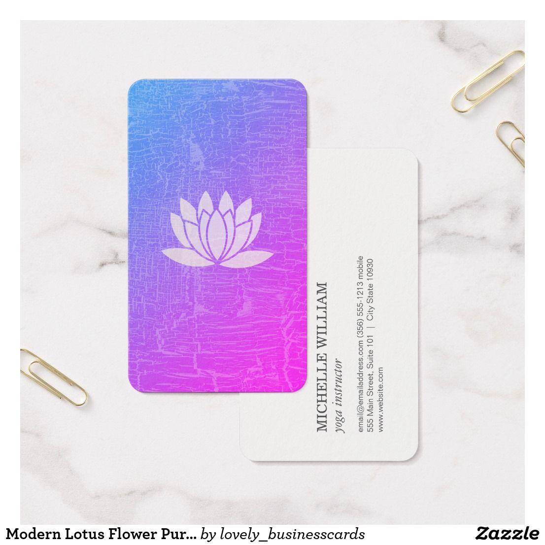 Modern Lotus Flower Purple Marbled Business Card | Yoga Instructor ...
