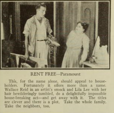 1922 Photoplay Magazine of Wallace Reid's new film Rent Free with Lila Lee