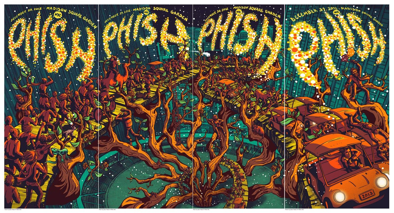 These are amazing!!! Phish - James Flames - 2012 New Years Eve quad ---- #design #inspiration #poster