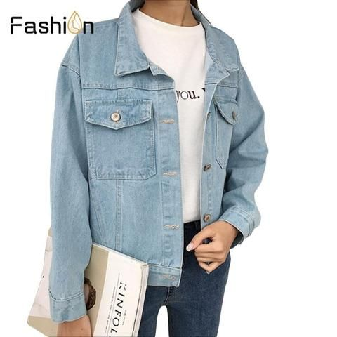 7e75dee70de38 Women Basic Coats Spring And Autumn Lady Denim Jacket 2018 Vintage Long  Sleeve Loose Jeans Coat Casual Girls Outwear Plus Size