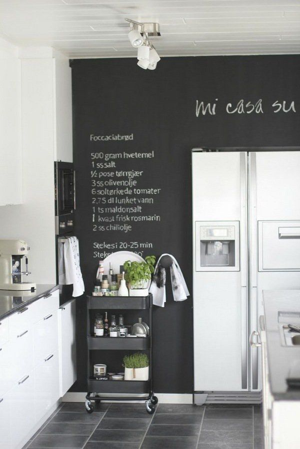 Kitchen Chalkboard Ideas Creative Decoration Or A Practical Idea Kitchen Chalkboard Black Kitchens Kitchen Wall Decor