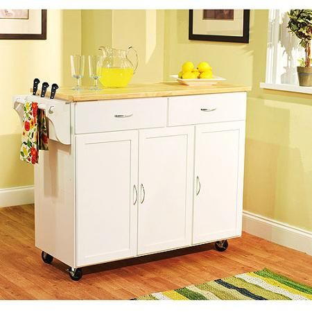 Extra Large Kitchen Cart, White with Wood Top Walmart $235 48\