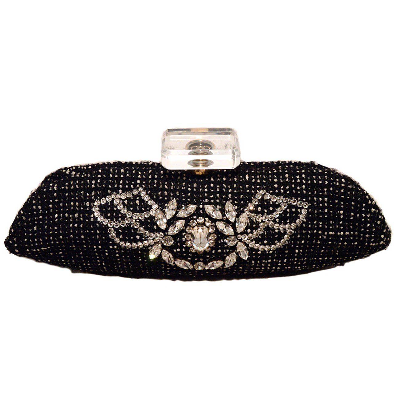 1stdibs 1950s Josef Black Caviar Beaded Rhinestone Jewel Frame Evening Bag Handbag dHprg
