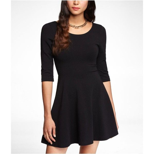 Three Quarter Sleeve Stretch Cotton Skater Dress 30 Found On Polyvore Featuring Dresses Vestidos 3 4 Length