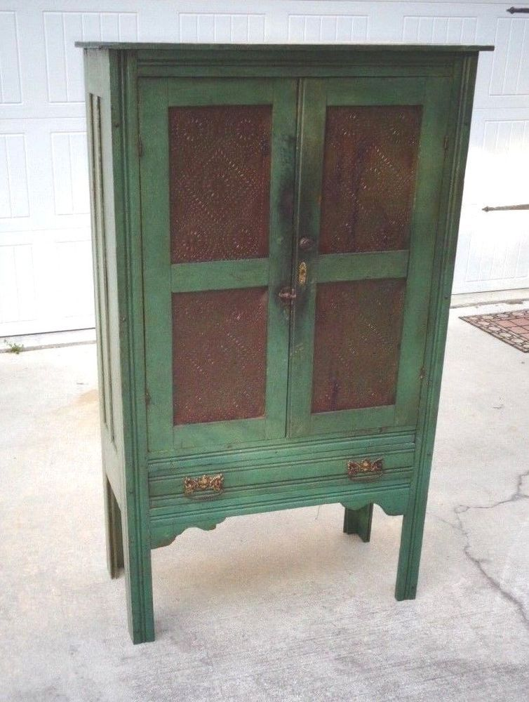 Antique Primitive Pie Safe W Punched Tin Old Paint Cupboard Kitchen Cabinet  #Country - Antique Primitive Pie Safe W Punched Tin Old Paint Cupboard Kitchen