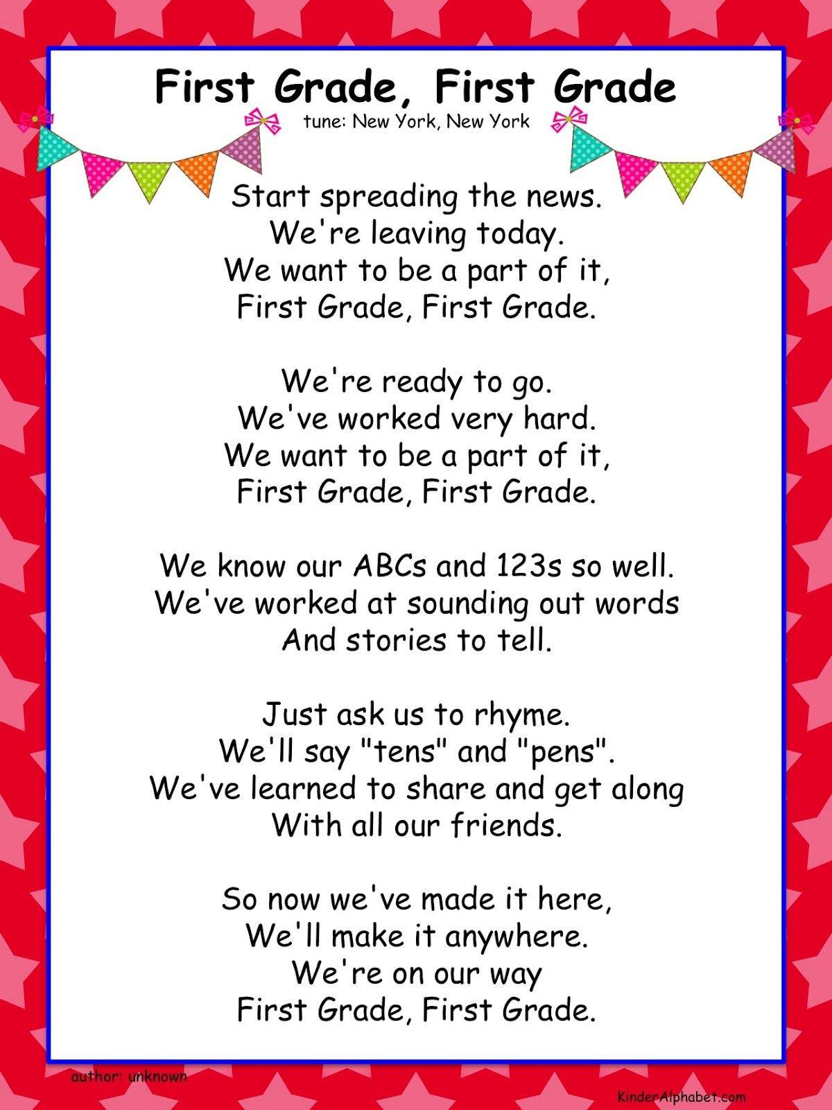 """End of the year activities: FREE leaving for """"First Grade"""" song for kinders."""