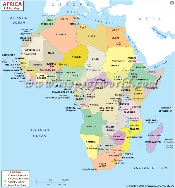 A Brightly Colored Political Map Of Africa Content Showing - World political map with country names