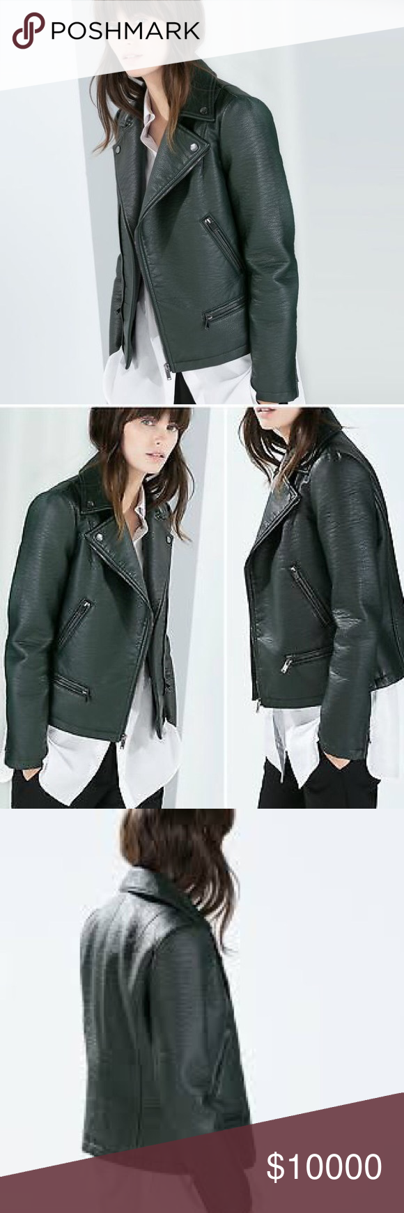 Iso zara faux green leather jacket Green leather jackets