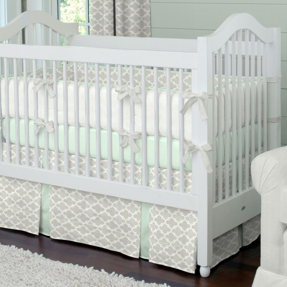 French Gray And Mint Quatrefoil Crib Bedding Designer