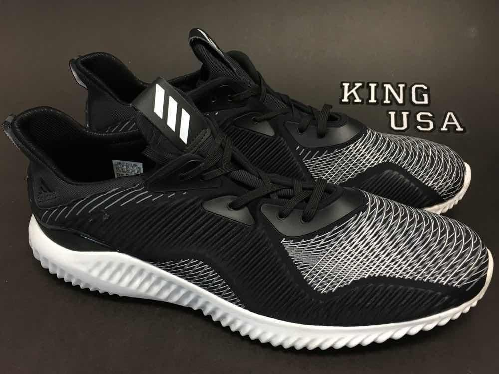 876c8b9f5 Mens Adidas AlphaBounce Haptic Running Shoes BB9048 Black White Size ...
