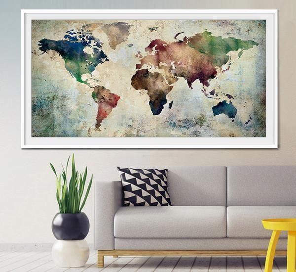 Large World Map Art, Extra Large Art, World Map Watercolor, Wall Art W