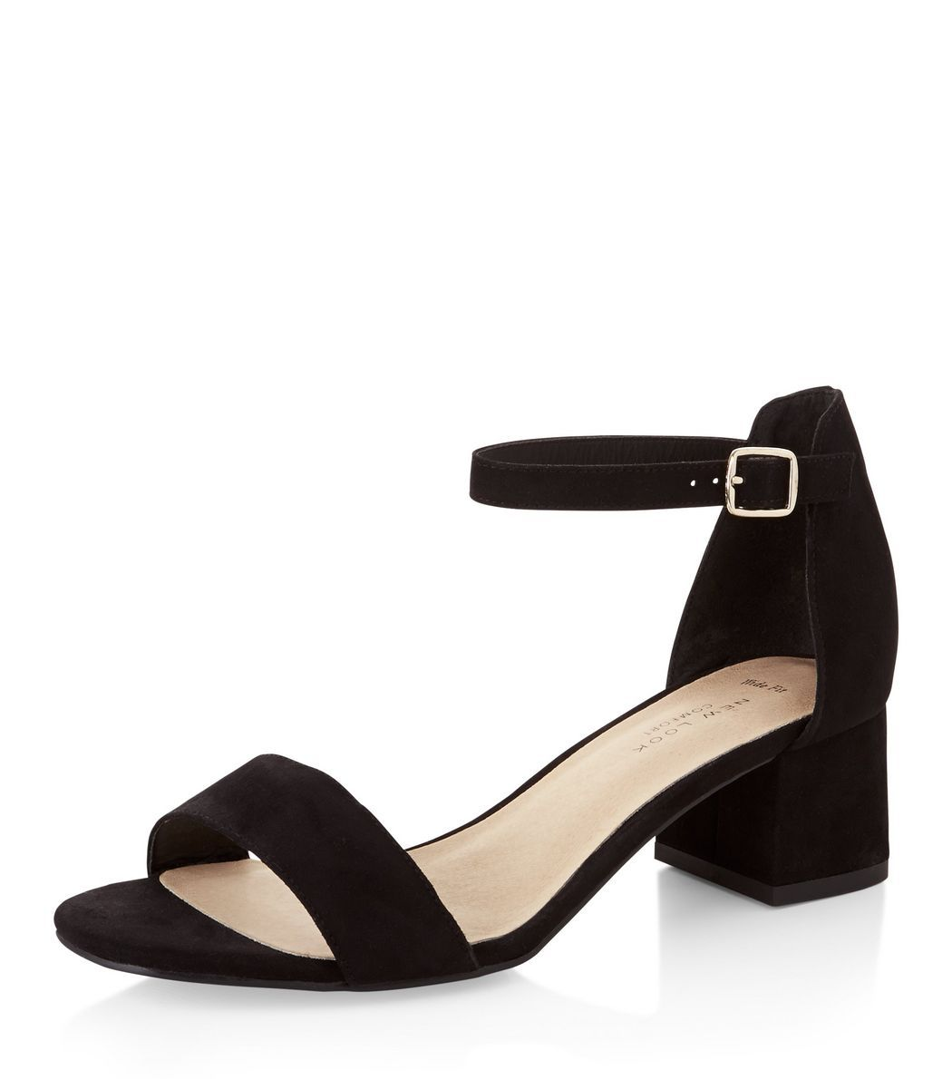 Wide Fit Black Comfort Suedette Block Heel Sandals | New Look ...