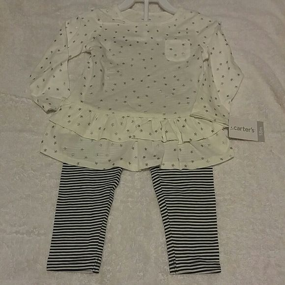 Toddler girl outfit Brand new toddler girl outfit silver star bottom ruffle top with striped pants size 18 months. Carters Other