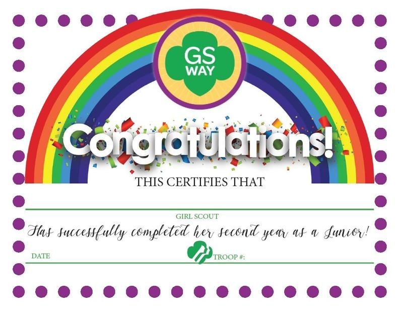 Girl scouts second year junior completion certificate
