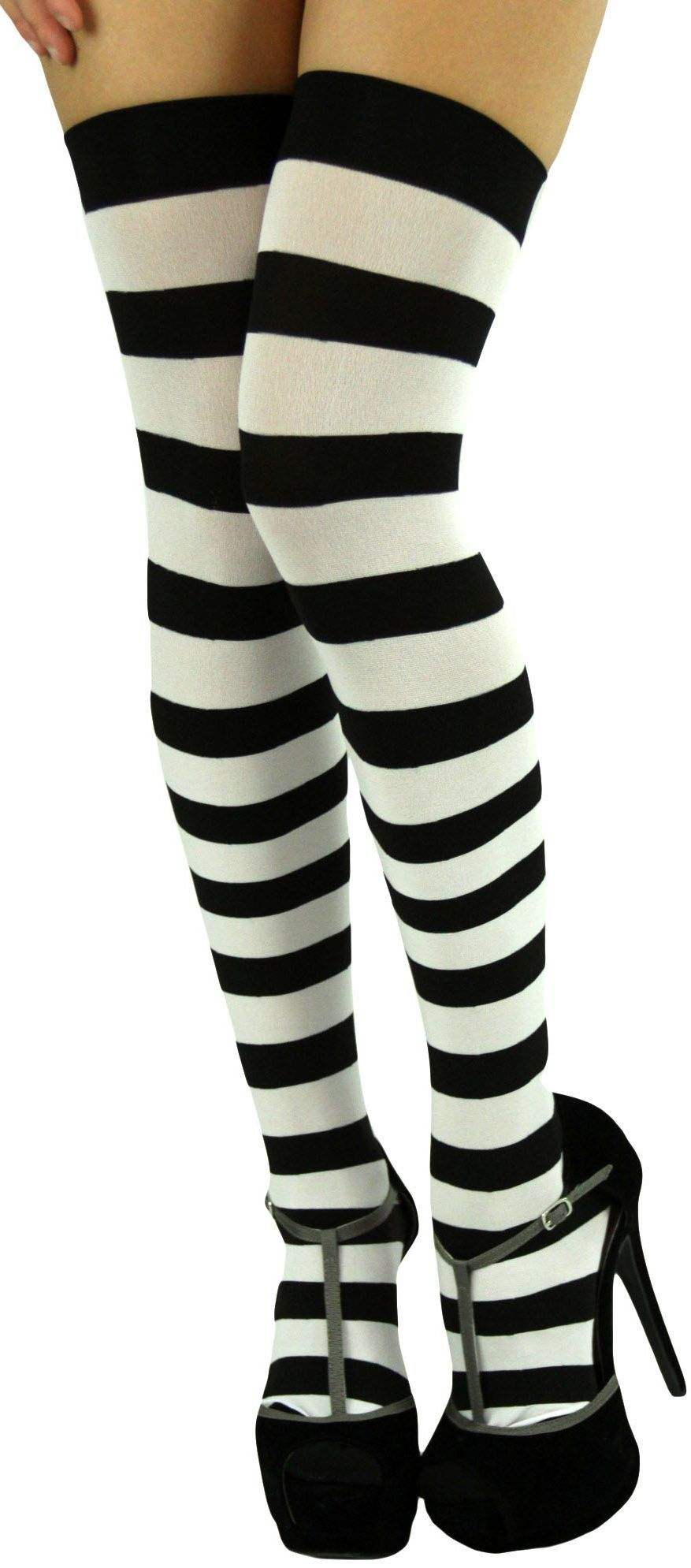 39f62d9f8055 ToBeInStyle Women's Wide Vertical Striped Thigh Hi Stockings (Black w/  H.Pink Stripes) at Amazon Women's Clothing store: