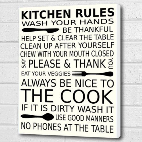 kitchen rules wall art box canvas white a3 12x16 inch cheryl