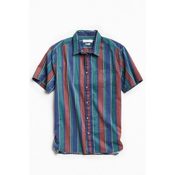 1980s Mens buttondown short sleeve shirt / Red blue novelty print / mens casual shirt / eighties mens fashion /80s style clothing / Size M pRFu2D