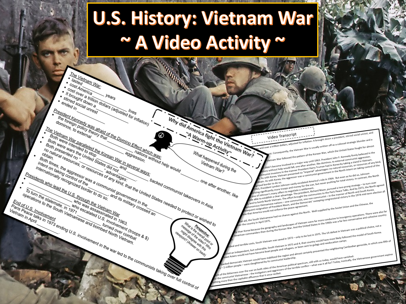U S History Vietnam War A Video Activity With Images