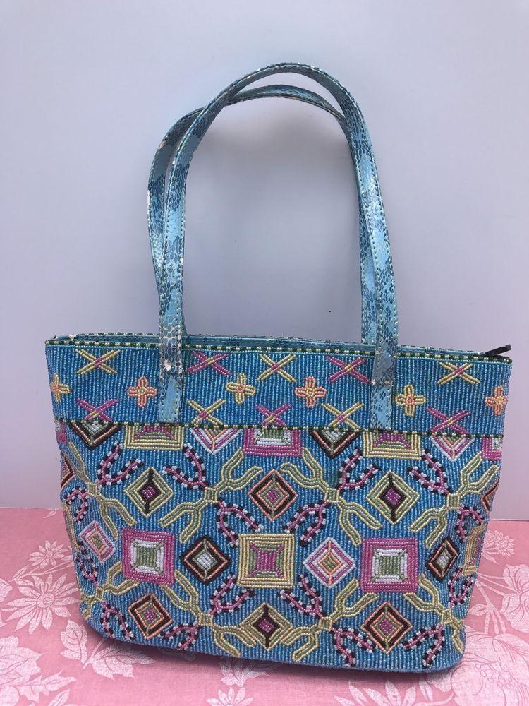 25d9f5a6d2c6 Authentic FENDI Flower Beaded Hand Bag Purse Turquoise Blue Denim VIntage   Fendi  HandBag