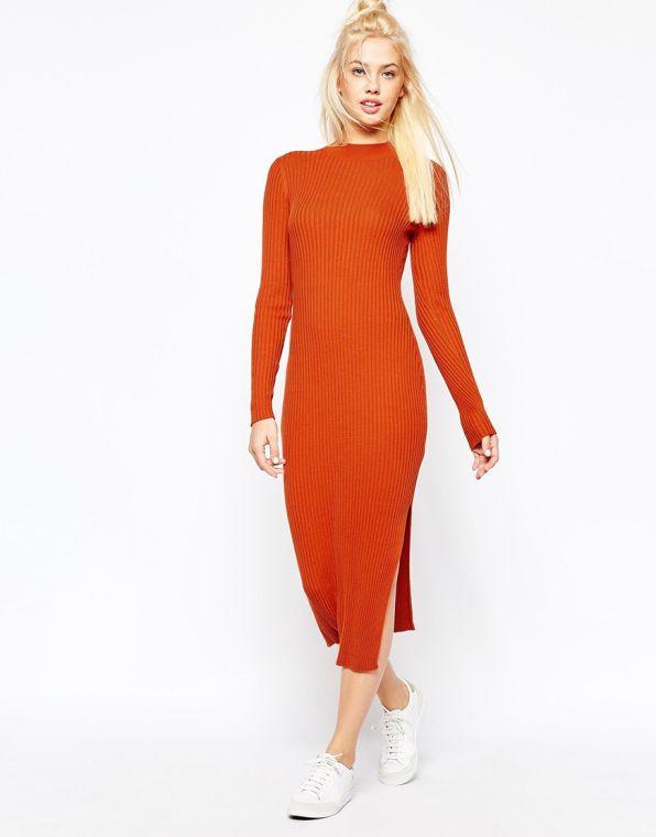 4f6f157c6313 Rib μάξι φόρεμα κεραμιδί