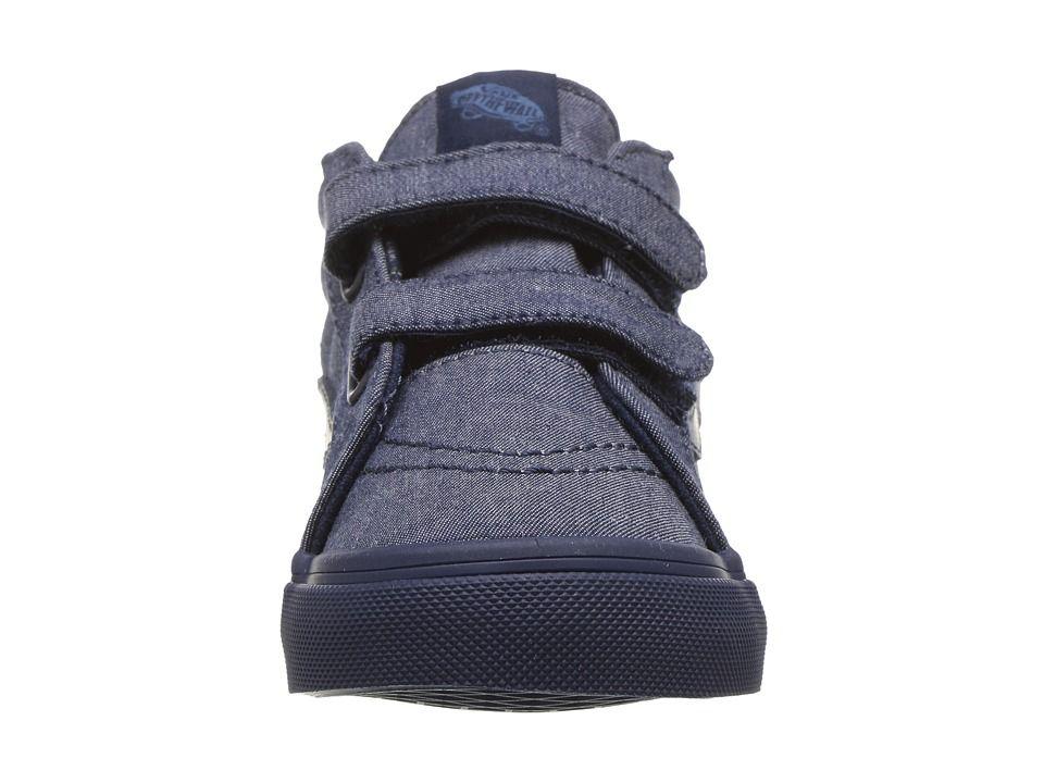 c782dd8f23 Vans Kids Sk8-Mid Reissue V (Toddler) Boys Shoes (Mono Chambray) Navy Navy