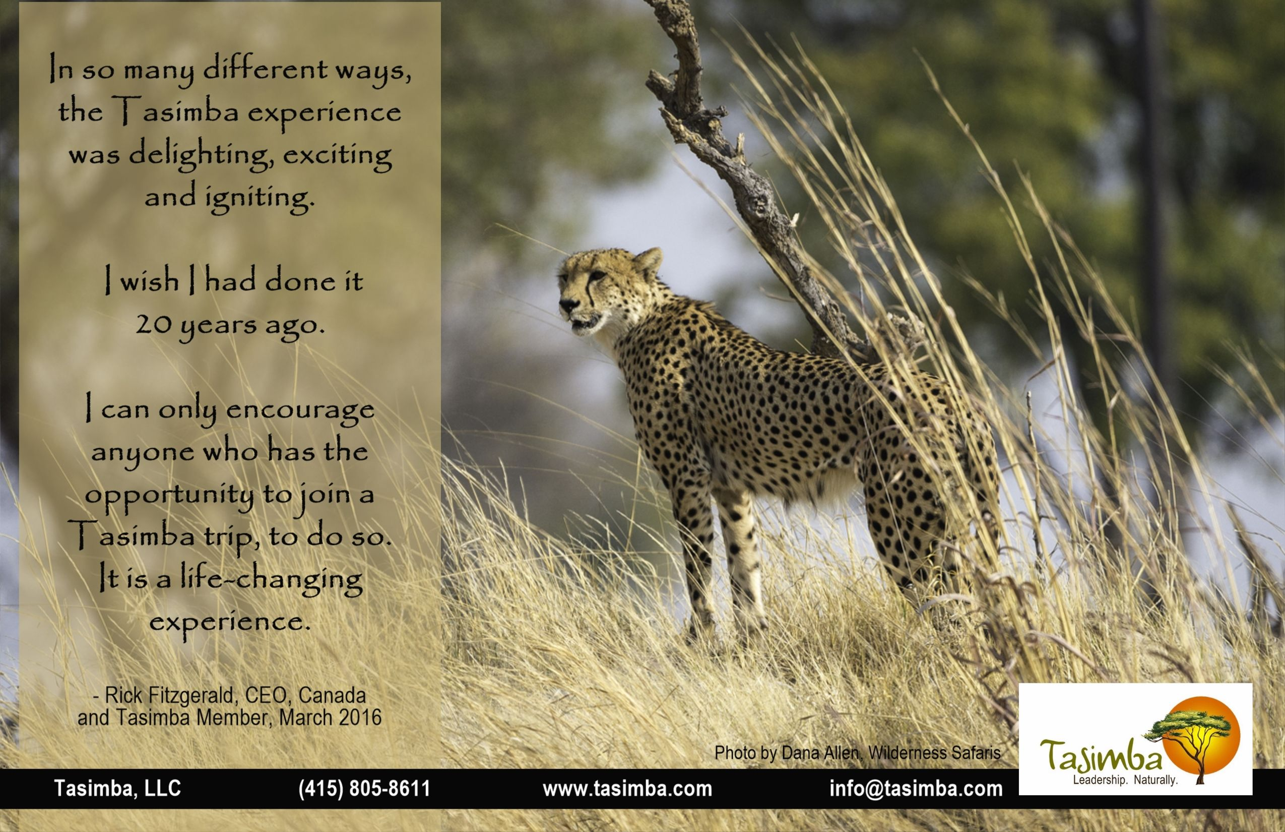 A life-changing experience. Don't wait 20 ears - do it now! Leadership, personal development, inspiration amid an unforgettable safari experience awaits!