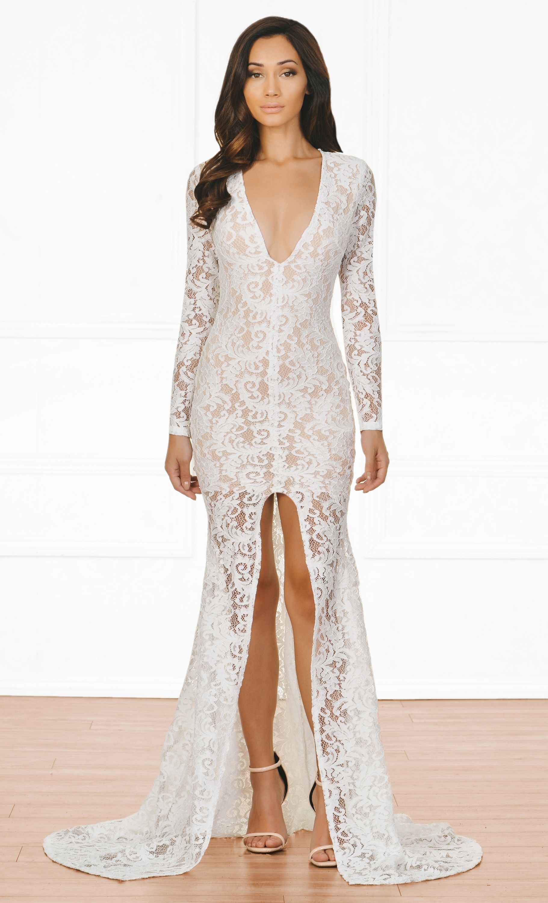 94ae58bee7a9 Indie XO Modern Romance White Nude Lace Long Sleeve Plunge V Neck High  Front Slit Maxi Dress