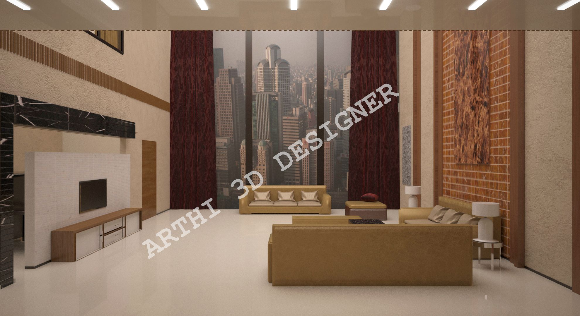 Realistic 3d Architectural Living Room Design Creative Innovative Design Architectural Contact Arthi 3d Designer Contact N Living Room 3d Design