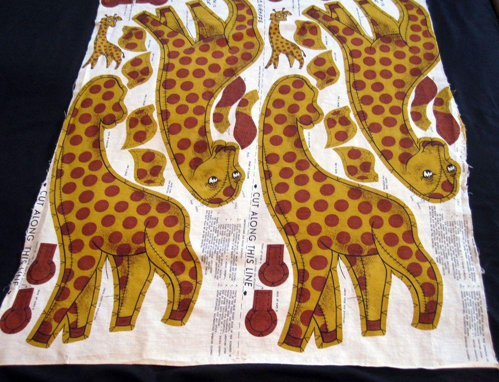 Cranston Craft Fabric Panel George Giraffe Vintage Pillow