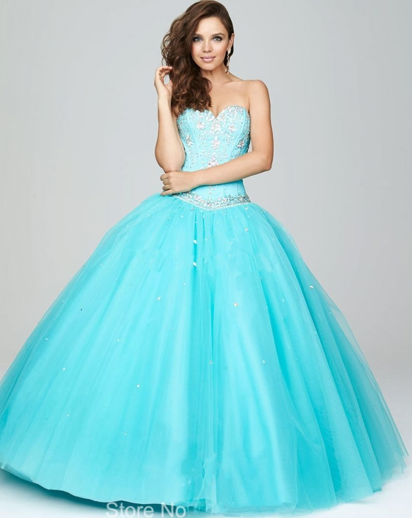 Click to buy ucuc sparkly sweetheart off shoulder aqua blue wedding