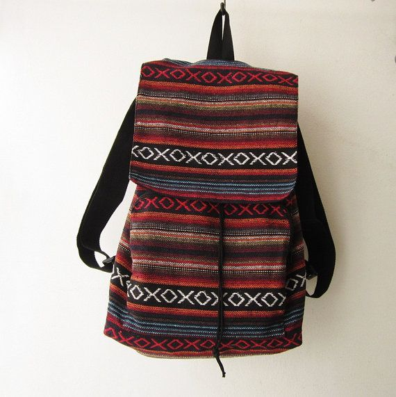 Tribal Woven Backpack Boho Hippie tapestry Ethnic Rucksack Hipster Aztec  Gypsy Nepali Patterns Bags Hippie Purse Native Design 323e0a22ac