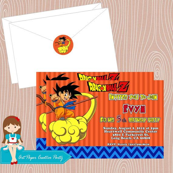 image regarding Dragon Ball Z Printable called 10 Dragon Ball Z birthday invitation 4x6 with as a result of